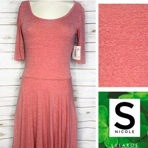 S Nicole solid heathered red dress